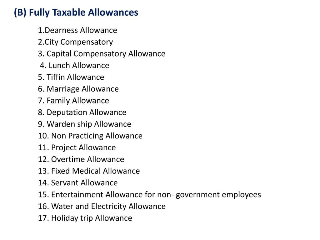 www.carajput.com; Fully Taxable Allowances